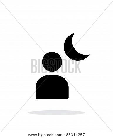 Night portrait simple icon on white background.