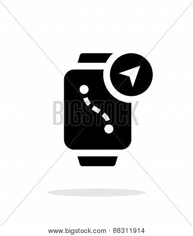 Navigation and GPS in smart watch simple icon on white background.