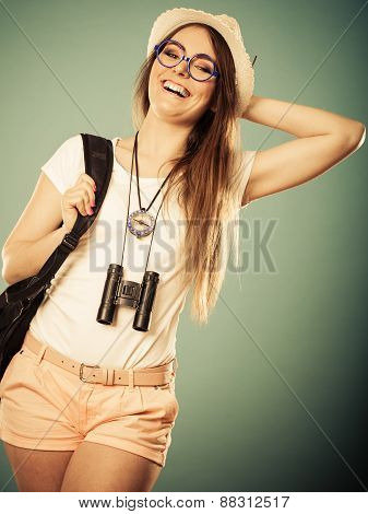 Tourist Woman In Summer Hat Portrait