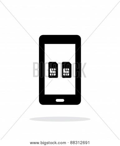Dual SIM mobile phone simple icon on white background.