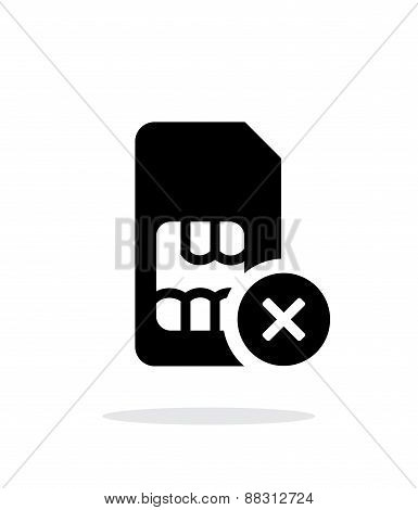 SIM card with cancel sign simple icon on white background.
