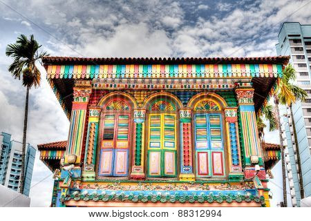 Singapore Landmark: Colorful Building Facade In Little India