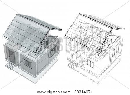 3d sketch of a house. Objects isolated on white background