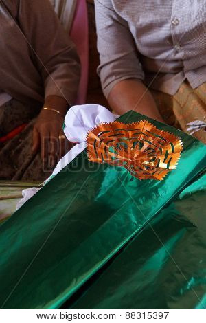 Making Decorations For Temple Festival