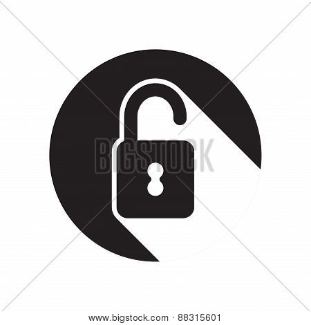 Black Icon With Open Padlock And Stylized Shadow