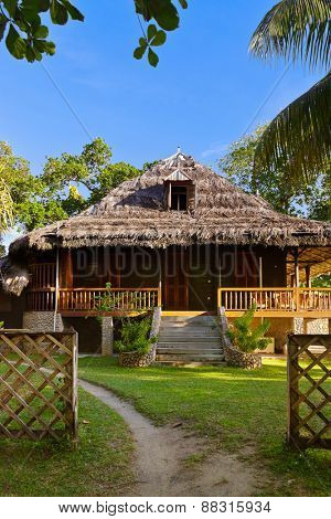 Retro colonial house at Seychelles - travel background