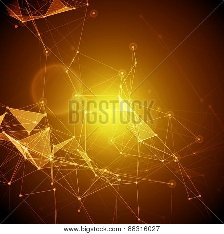 Abstract Polygonal Space Yellow Background with Connecting Dots and Lines | EPS10 Vector Illustration