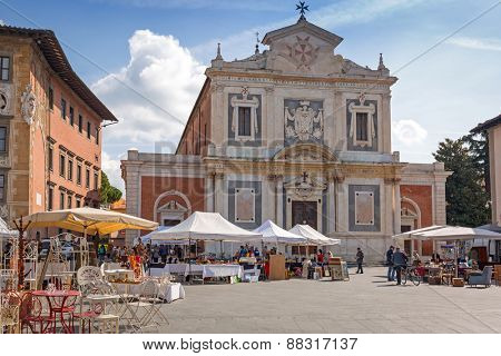 PISA, ITALY - APRIL 11, 2015: Architecture of church in Pisa city, Italy. Pisa is a city in Tuscany known worldwide for the Leaning Tower, one of the biggest landmark.