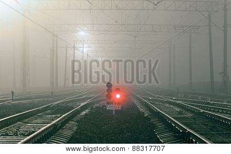 Cargo Train Platform At Night. Railway Station
