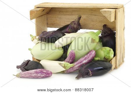 fresh mixed aubergines(Cucurbita pepo), and a cut one in a wooden crate on a white background