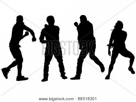 Danser people in rap style on white background