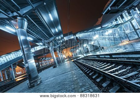 Railway Station At Night. Train Platform In Fog. Railroad