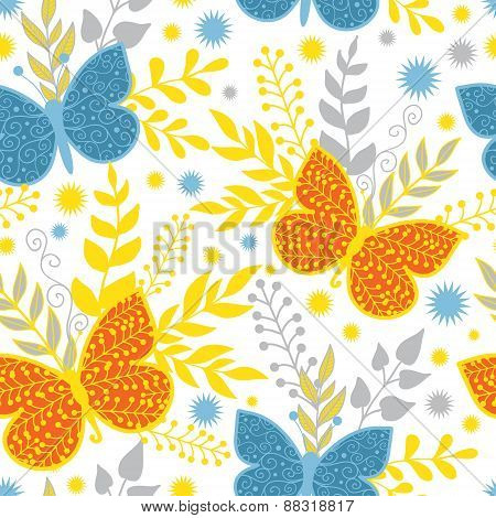 Vector vibrant blue and orange butterflies seamless pattern background