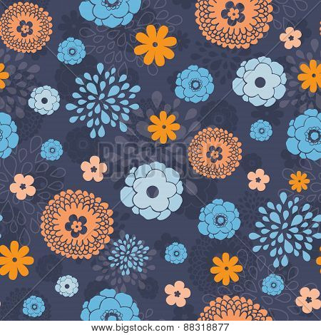 Vector golden and blue night flowers seamless pattern background
