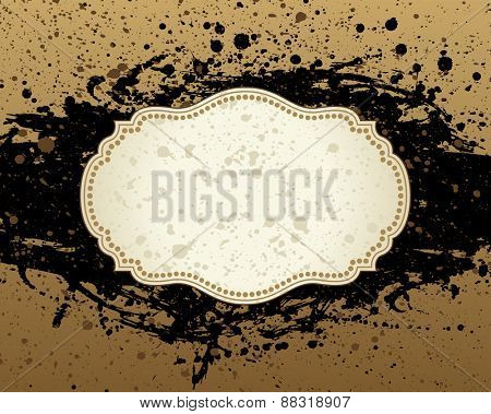 grunge background frame for text with spots and rough brush strokes. black brown illustration