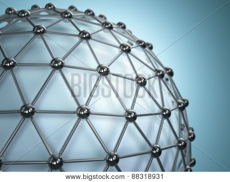 Lattice sphere. Concept of molecule. Abstract background. 3d