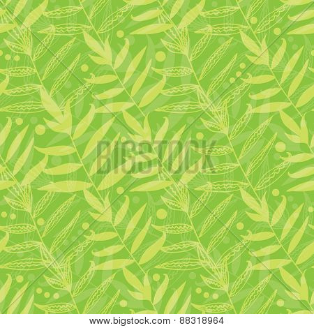Vector green leaves seamless pattern background