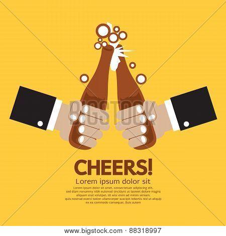 Cheering Of Two Bottles Beer.