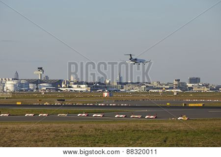 Frankfurt Airport (germany) With A Plane In The Air