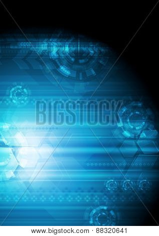 Abstract dark blue tech background. Vector design