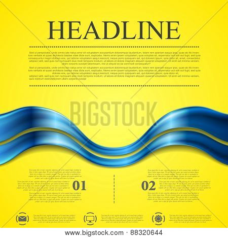 Abstract contrast yellow blue wavy background. Vector design