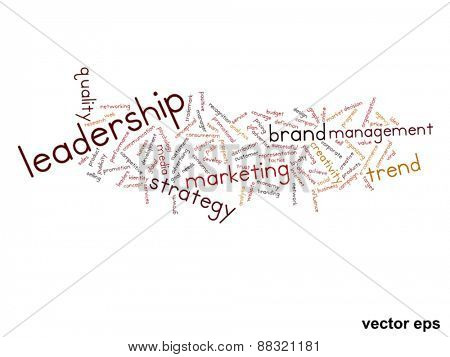 Vector eps concept or conceptual abstract leadership and success word cloud or wordcloud isolated on white background