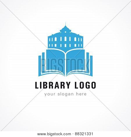 Library logo building book
