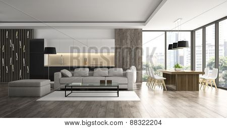 Interior of the modern design  loft  3D rendering