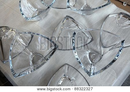 SVETLA NAD SAZAVOU, CZECH REPUBLIC - NOVEMBER 7, 2014: Decorative glass vases produced at the Bohemian glass factory Crystalite Bohemia in Svetla nad Sazavou, Czech Republic.