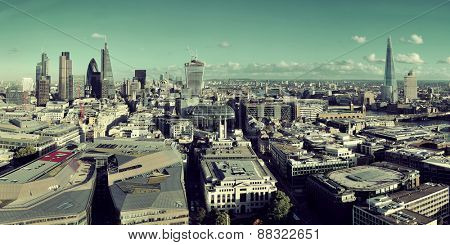 London city rooftop view panorama with urban architectures.