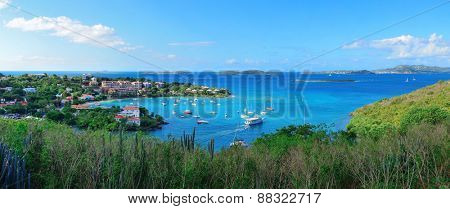 St John bay panorama with buildings and boats in Virgin Islands.