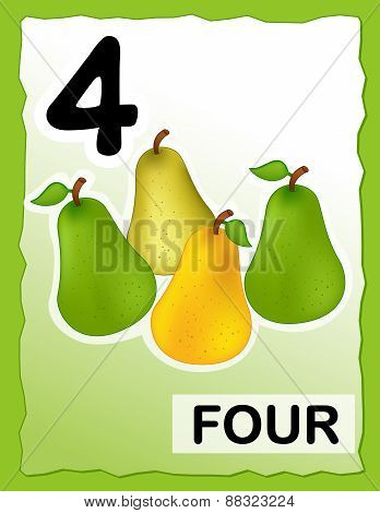Number 4 Kids Learning Card