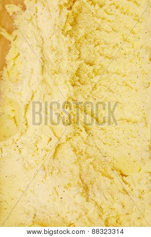 Top view on fresh vanilla ice cream as background