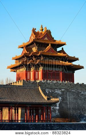 Imperial Palace corner tower in the morning in Beijing.