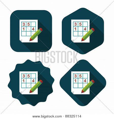 Sudoku Flat Icon With Long Shadow,eps10