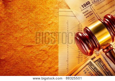 Budget, Tax Form, Gavel And Dollars