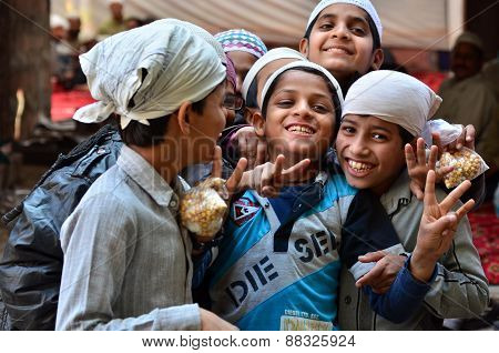 Jodhpur, India - January 1, 2015: Portrait Of Indian Children In A Village In Jodhpur.
