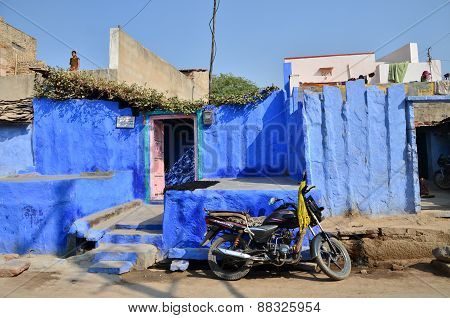 Jodhpur, India - January 1, 2015: Indian People In Village Of Jodhpur