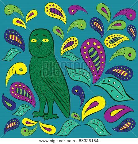 Illustration With Stylized Owl