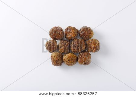 fresh hot meatballs on white background