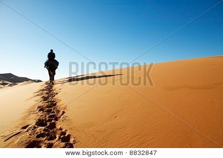 Man Walking Through Desert Dunes