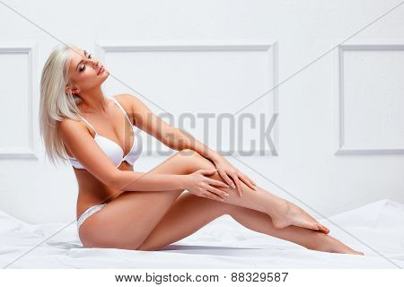 young sensual lady in classical interior