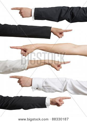 set of different mans and womans hands in formal wear pointing. isolated on white background