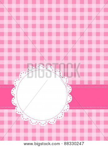Pink Gingham Pattern With A Lace Frame