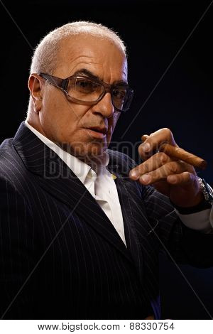 Closeup portrait of elegant mature man smoking cigar, looking at camera.
