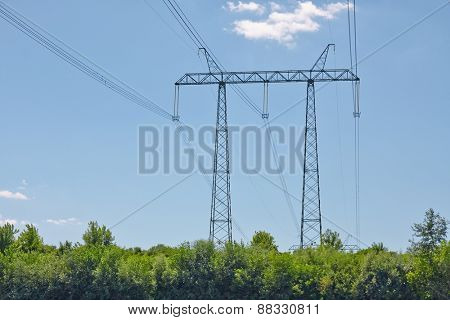 Ultra high voltage line crossing a river