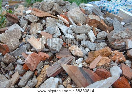 A pile of broken bricks