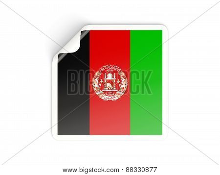 Square Sticker With Flag Of Afghanistan