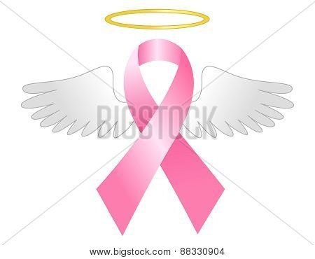 Pink Ribbon With Wings And Halo