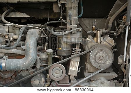 Detail of a big bus engine